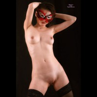 Shaved Asian Girl In Red Feather Mask Standing - Shaved Pussy, Small Tits, Stockings, Naked Girl, Nude Amateur , Shaved Masked Ladie, Nude Masked Asian Girl, Full Frontal Nude, Twat Shot, Masked Nude, Black Background, Hands Behind Head, Masked Asian With Stockings Only, Nude Carnival, Mask On, Woman In Mask, Nude Masquerade, Masked Asian With Black Stockings