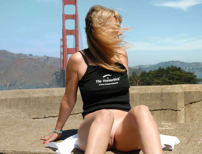 Pic #1 - Golden Gate Exibitionist. - Shaved Pussy , Strap Top, Black Tank Top, Wearing Black Tank Top, Voyeurweb Tank Top, Bottomless Girl Posing In Front Of Goden Gate Bridge, Bottomless San Francisco Bridge, San Francisco Voyeurweber, Bridge Pussy Flash