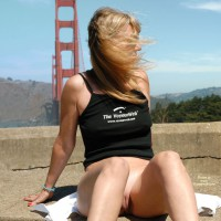 Golden Gate Exibitionist. - Shaved Pussy , Strap Top, Black Tank Top, Wearing Black Tank Top, Voyeurweb Tank Top, Bottomless Girl Posing In Front Of Goden Gate Bridge, Bottomless San Francisco Bridge, San Francisco Voyeurweber, Bridge Pussy Flash