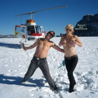 Topless Man And Woman With Helicopter - Blonde Hair, Sunglasses, Topless