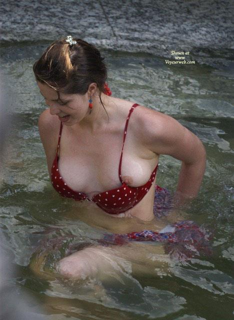 Pic #1 - Nipple Slip , Oops!, Red Bikini With Hearts, Red Bikini, Half Slip, Wardrobe Malfunction, Nip Slip, Pool Bikini Malfunction, Bikini Nipslip, Seated In Water