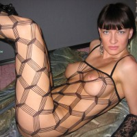 Crochet Black Body Stocking - Black Hair, Blue Eyes, Erect Nipples, Large Breasts