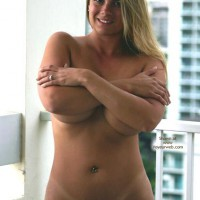 Breasts Covered With Arms - Blonde Hair, Standing