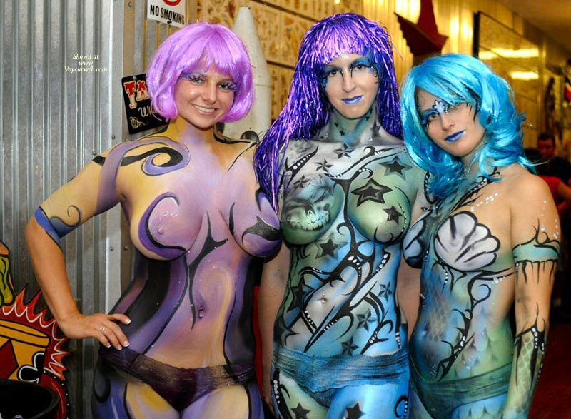 Fantasy Fest Body Painting - Nude Amateur , Body Painting, Body Paint, Nude Art, Tits Covered With Paint, Painted Ladies, Threesome Fun