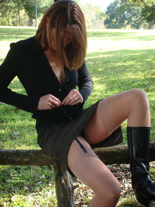 Pic #1 - Slim Sexy Girl Undressing - Flashing, Stockings, Sexy Legs , Black Cardigan, Black Semiopen Jacket, Undressing In The Park, Flashing In The Park, Black Garter & Sheer Stockings, Black Dress, Undressing In Park, Sitting On A Fence, Black Knee High Boots, Black Boots, Sitting Back With Knee-up