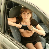 Flashing From Car - Nude In Car, Small Breasts, Stockings