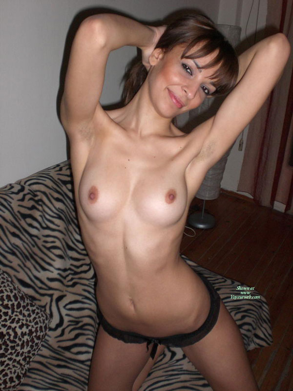 Pic #1 - Topless Wife - Brown Eyes, Brown Hair, Firm Tits, Milf, Perfect Tits, Small Tits, Topless, Hot Wife, Small Areolas, Topless Wife , Arms Raised, Hands Behind Neck, Medium Round Tits, Small Breast, Brown Eyes, Kneeing On A Couch