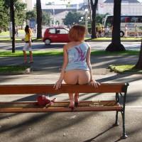 Flashing Ass On A Park Bench - Flashing Ass, Flashing, Red Hair, Round Ass