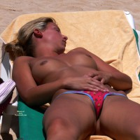Very Well Tanned Topless Beach Girl - Blonde Hair, Camel Toe, Topless Beach, Topless, Beach Tits, Beach Voyeur