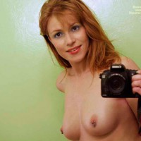 Self Pic With Pierced Nipples - Brown Eyes, Pierced Nipples, Self Shot, Topless