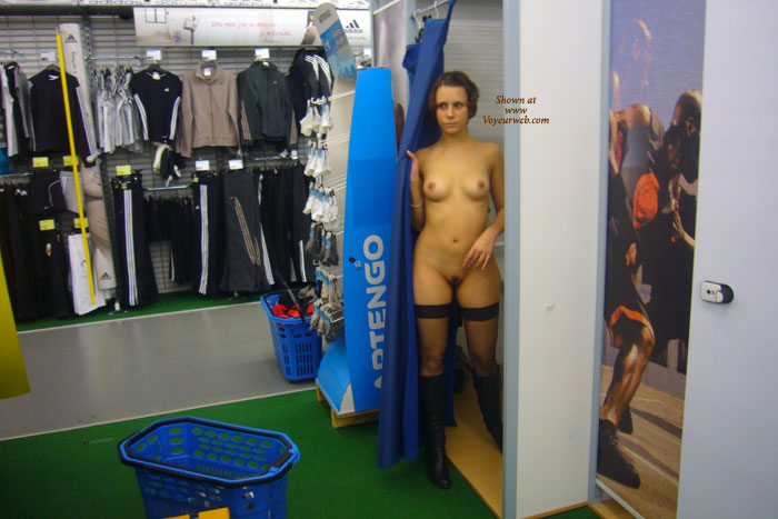 Public Nudity Naked In The Dressroom Thigh High Stockings