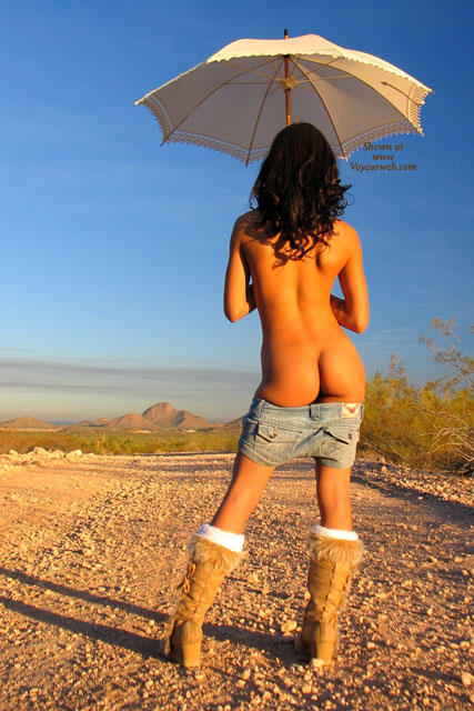 Girl Flashing Ass Standing Under Umbrella Outdoor - Dark Hair, Flashing, Topless, Sexy Ass , Topless Shorts Pulled Down To Thighs Knee High Furry Boots, Standing Outdoors, Skinny Legs, Toned Body, Dark Curly Hair, Open White Umbrella, Soft Bottom, Sun Umbrella, Shorts Pulled Down Showing Ass