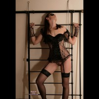 Submissive Theme - Black Hair, Brown Hair, Dark Hair, Long Hair, Stockings, Trimmed Pussy