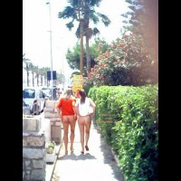 Two Bare Ass Girls Walking In Public - Flashing Ass, Flashing, Nude In Public