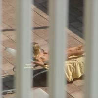 Topless Blondie Sunbathing