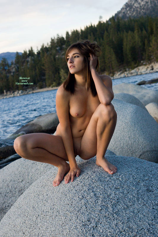 Naked By Lake - Brown Hair, Brunette Hair, Long Hair, Shaved Pussy, Small Breasts, Small Areolas , Nice Real Tits, Squatting Naked, Crouching Shot, Long Brunette Hair, Perfect Body, Completely Naked, Naked In Nature, Beautiful Young Body, Pussy Slit Visible, Naked On Rock, Naked On A Rock