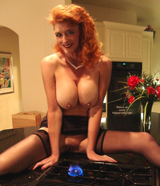 Pic #1 - Redhead With Big Tits - Erect Nipples , Redhead With Big Tits, Perky Erect Nipples, Big Tits Bringing The Heat, Stove Top