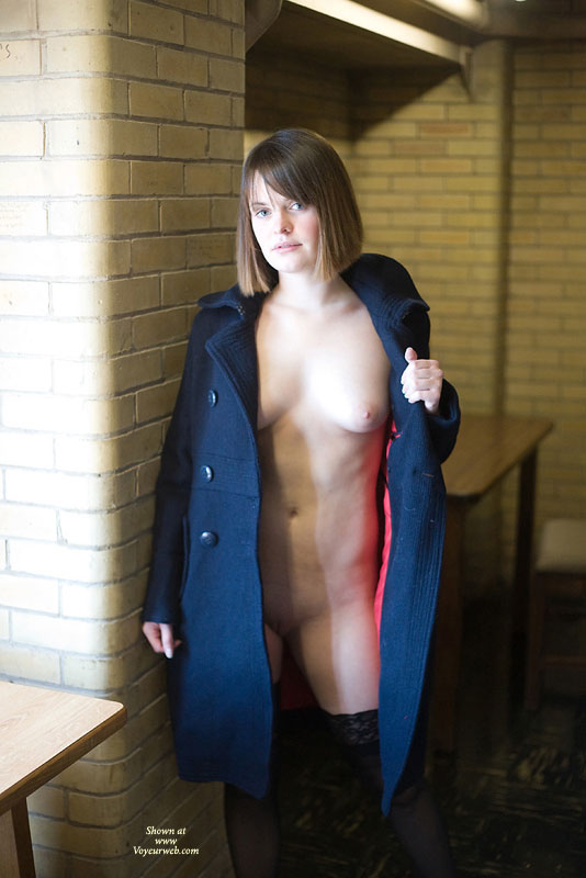 Pic #1 - Heather Flashing In Her Coat , Wow! Thank You Every For Voting Me Into 3rd Place Last Month! I Was Totally Surprised! You Know How To Make A Girl Feel Wanted.. And All Those Hot Comments That Made Me Blush.. Well :)<br /><br />In Thanks For The Votes And Comments I've Resubmitting My First Set Of Photos That I Didn't Get Published Last Month In Addition To This Set Here. These Pics Are The Continuation Of My Flashing Adventure From Last Month. I'm Also Submitting Another Set Of Pics That Show Me Stripping My Clothes Off. We Played Around In The Library Some Then Went Elsewhere On Campus-- In A Classroom And Some Hallways And I Flashed From Under My Coat Some More. Certainly Was Interesting Walking Around Naked Under The Coat In The Courtyard While Everyone Around Me Was Totally Unsuspecting... My Stockings Kept Slipping Off (I Needed To Use A Garter!) And It Was Hard To Keep The Illusion I Was Wearing A Dress, Even Though I Wasn't.<br /><br />I Hope You Enjoy These As Much As I Enjoyed Doing It. Thanks For Your Votes From Last Month (and This Month Too!) And For Leaving Me All Those Nice Comments. I Might Even Respond To Ones I Find Interesting :)