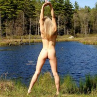 Rear Shot Of Stretching Nude Girl - Blonde Hair, Round Ass, Naked Girl, Nude Amateur