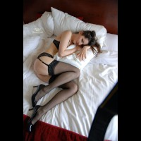Brunette Lying In Bed Wearing Black Lingerie C Urled Around Pillow - Brunette Hair, Long Legs, Stockings, Naked Girl, Sexy Ass, Sexy Face, Sexy Legs, Sexy Lingerie