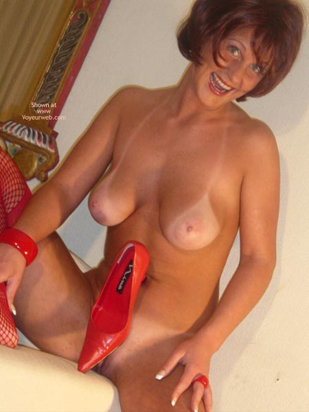 Pic #1 - Nude Girl Sitting - Tan Lines , Nude Girl Sitting, Tanlines, Covering Her Pussy With A Red Shoe, Mature Woman, Deep Tanlines, Red Fishnets, Red Pumps, Freckled Chest, Light Pink Areola