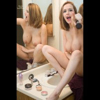 Naked In Bathroom With Mirror Reflection - Blonde Hair, Erect Nipples, Large Breasts, Shaved Pussy