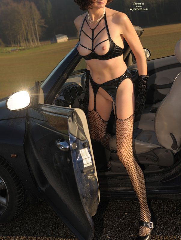Pic #1 - Naked Fetish Girl And A Car - Long Legs, Perky Nipples, Shaved Pussy, Stockings , Garters With Fishnet Stockings, Pearl Necklace Black Heels With Buckle Straps, Fetish Sexy Set, Pointed Nipples, Black Vinyl Fetish Bra And Garter, Pvc Fetish, Fetish Bra, Vinyl Kink, Black Fishnet Stockings, Black Satin Gloves, Long Lean Legs, Black Gloves