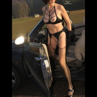 *DR In And Around The Car - Long Legs, Perky Nipples, Shaved Pussy, Stockings