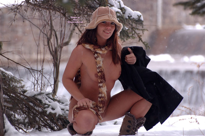 Flashing On The Snow - Flashing, Naked Girl, Nude Amateur, Small Areolas , Fur Hat, Frozen Pussy, Brown Furry Boots, Wooly Scarf, Nude In Snow, Auburn Hair, Crouching Over Snow, Black Overcaot