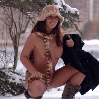 Flashing On The Snow - Flashing, Naked Girl, Nude Amateur, Small Areolas
