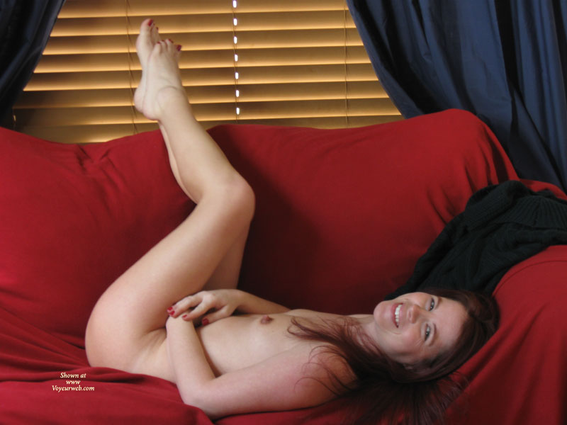 Pic #1 - Small Tits - Hard Nipple, Small Tits, Naked Girl, Nude Amateur, Nude Wife , Lying On Couch, Classic On Couch, On Her Back, Feet Up, Pretty Smile And Hard Nipples, Dark Haur, Venetian Blinds In Background, Lying On A Red Sofa, Naked Wife, Smiling Into Camera