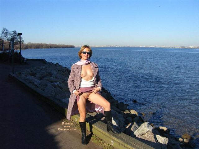 Pic #1 - Flashing Outdoors By The Lake - Flashing, Landing Strip, Nude Outdoors, Sunglasses, Naked Girl, Nude Amateur , White Classic Scarf, Lavendar Overcoat, Lavandar Skirt, Black Leather Boots, Sweater No Bra, Pussy And Titties Flash By The Lake, Upskirt No Panties, Flashing At The Beach