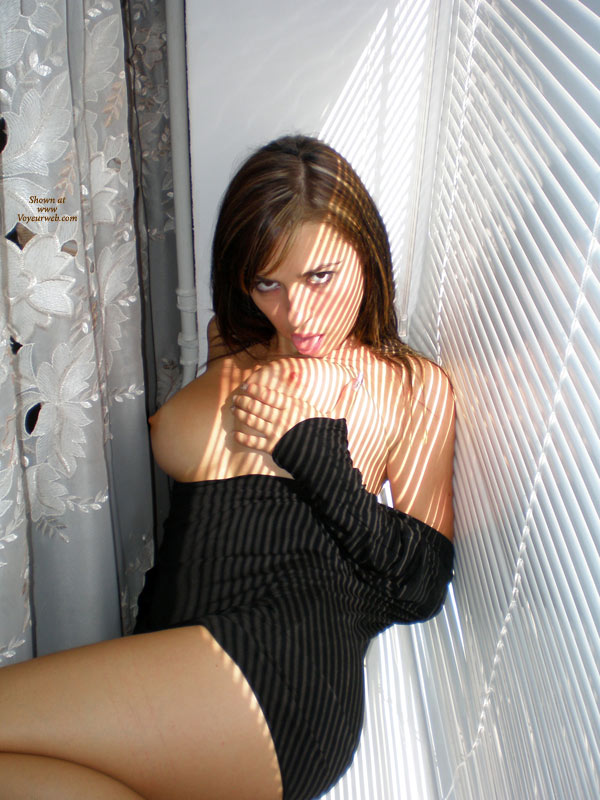 Topless By The Window - Brunette Hair, Large Breasts, Topless , Licking Tit, Licking Own Nipple, Black Dress, Short Black Dress, Sunlight On Tits, Black Mini Dress, Naughty Look Self Licking Brunette