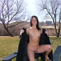 Sitting On Picnic Table - Small Tits, Spread Legs, Trimmed Pussy