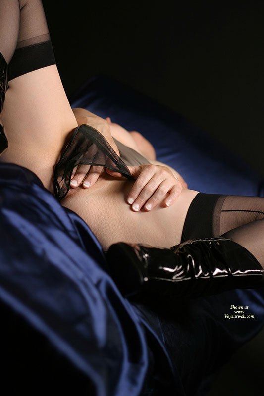 Pic #1 - Girl Masturbating On Bed , Pvc Boots, Blue Silk Sheets, Sheer Black Panty, Girl Fingering, Black Sheer Panties, Sexy Self Play, Pussy With Fingers, Black Vinyl Boots, Mesh Knickers, Black Nylons, Black Boots, Crotch Shot With Panties