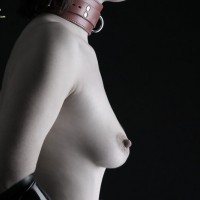 SubHelena: topless slave in collar