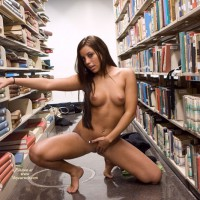 Naked With Long Dark Hair In The Library - Brown Hair, Dark Hair, Long Hair, Naked Girl, Nude Amateur