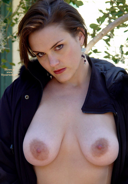 Pic #1 - Outdoor With Coat Over Topless Body - Big Tits, Topless, Topless Wife , Boobs Hanging, Large Oblong Aerolas, Bare Breast Unzipped Jacket, Russian Showing Off Her Tits, Boob Frontal, Dark Eyes, Black Snap Jacket, Dangling Onyx Earrings, Big Aeroleas