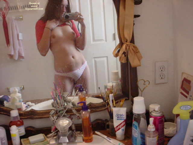 Pic #1 - Shooting Her Own Tits On Mirror - Brown Hair, Self Shot, Topless , White Panties, Young Topless Girl, Small Boobs, In The Mirror, Mirror Photo Titties, Red T-shirt, Mirror Shot, Shoulder Length Brown Hair, Self Photo