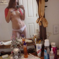 Shooting Her Own Tits On Mirror - Brown Hair, Self Shot, Topless