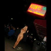 Nude Woman Flashing On Public Street - Long Hair