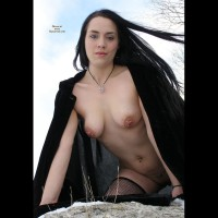 Goth Girl With Pierced Nipples - Black Hair, Dark Hair, Long Hair, Navel Piercing, Pierced Nipples, Stockings
