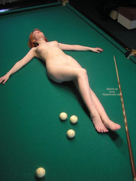 Pic #1 - Pale Body - Sexy Body , Pale Body, Cue On Green, Naked On Pool Table