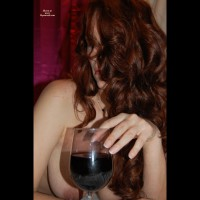Topless Girl Drinking Wine - Long Hair, Milf, Red Hair, Topless