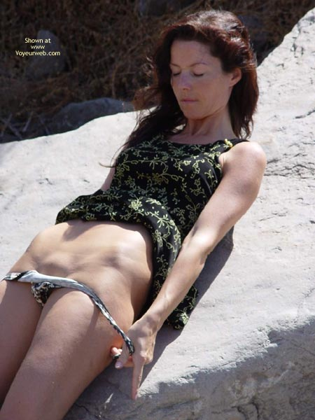 Pic #1 - Girl Taking Off Her Panty , Girl Taking Off Her Panty, Summer Dress, On A Rock, Bareness And Bald