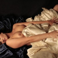 Sexy Wife Erotic Pose On The Satin Bed - Brunette Hair, Hard Nipple, Long Hair, Topless, Sexy Legs, Sexy Wife