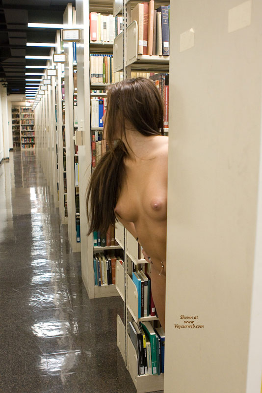 Pic #1 - Stripping In Library - Firm Tits, Naked Girl, Nude Amateur , Perky Breasts And Belly Exposed, Pierced Naval, Firm Funbags, Pink Areolas, Young Perkies, Long Brown Haur, Nude In Library, Naked Girl Peeking Out Between The Shelves