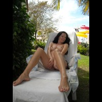 Topless On An Outdoor Chaise - Brunette Hair, Firm Tits, Long Hair, Long Legs, Perky Tits, Topless, Naked Girl, Nude Amateur