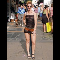 Transparent Outdoors - Blonde Hair, See Through, Small Breasts, Sunglasses , Strawberry Blonde Hair, Sheer In Public, Wearing Sunglasses, See Through Dress, Leather Belt, Hard Body, Black See Through Stripped Dress, See Thru Outside