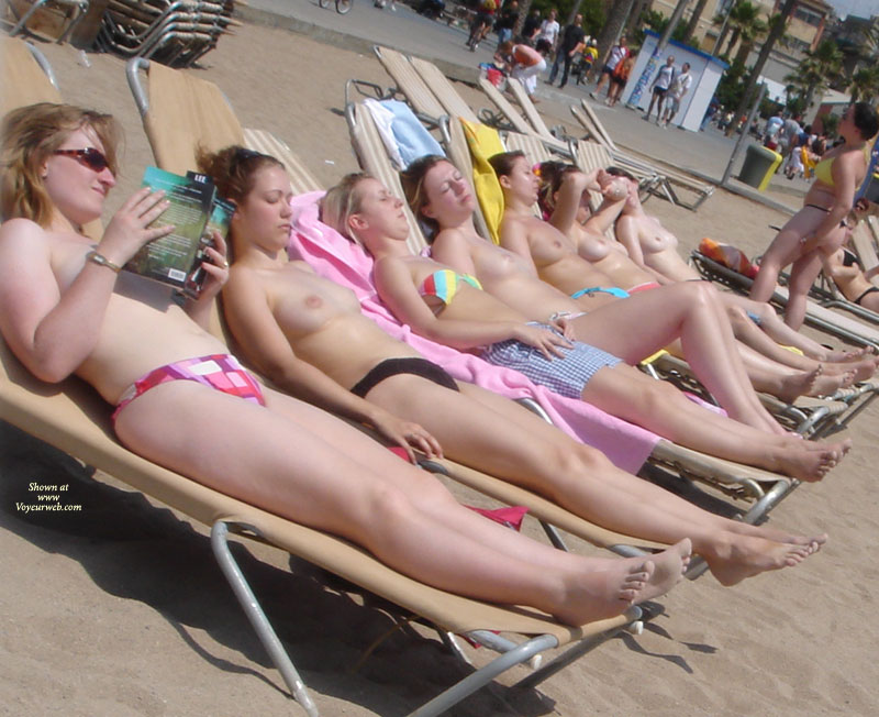 Pic #1 - 7 Topless Girls On Beach - Topless, Beach Tits, Beach Voyeur , Topless Girls On The Beach, Topless Girls In A Row, Beach Breast Bonanza, Row Of Women On Beach Chairs, 7 In A Row Topless Sunbathers